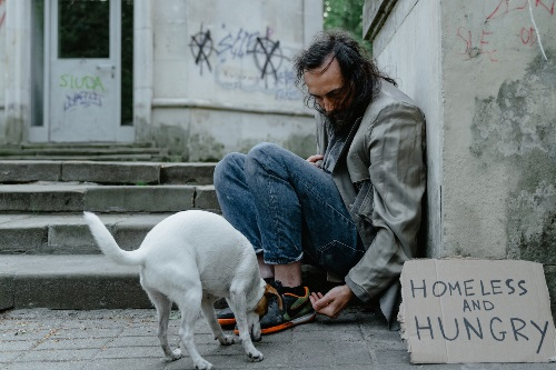 A dog and man who is homeless sitting on a sidewalk.