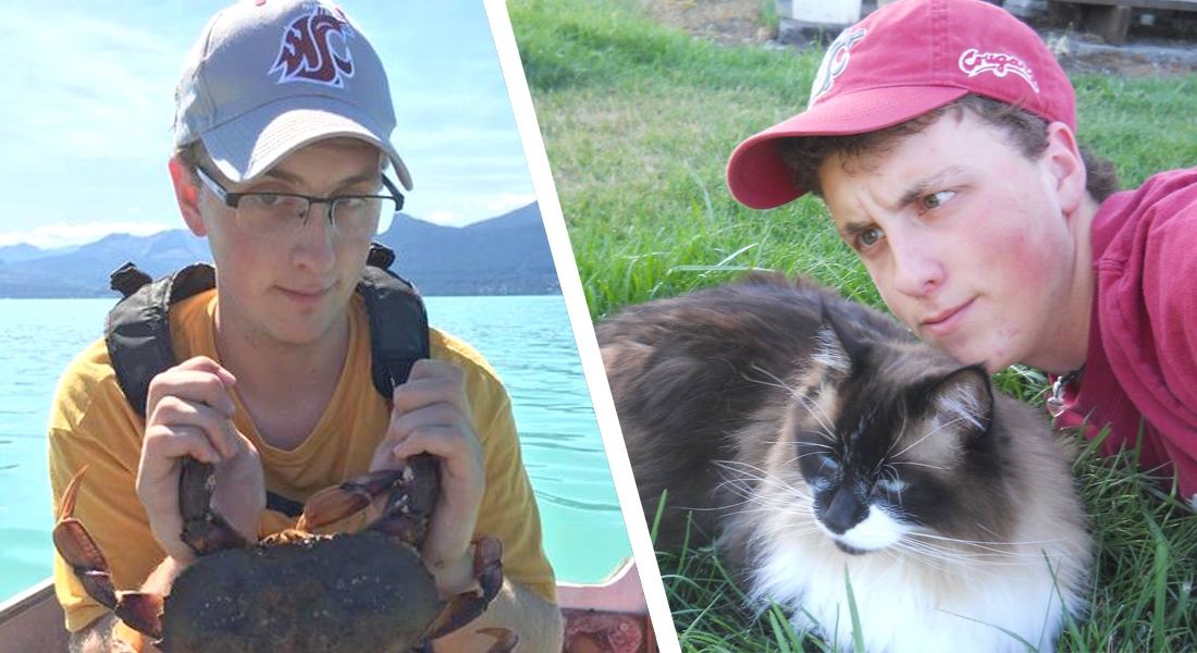 On the left, Seth holding a crab, and on the right, hanging out with his cat.
